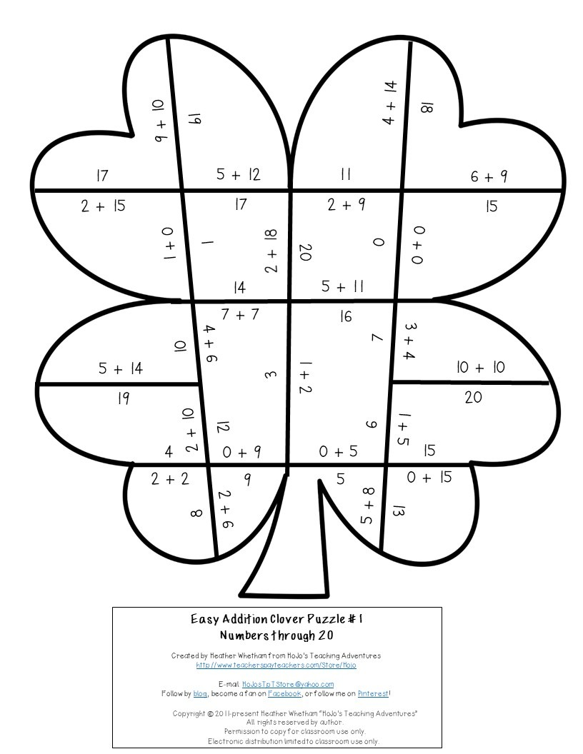 ADDITION Clover Puzzles for 1st, 2nd, or 3rd Grade