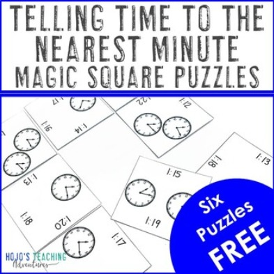 FREE Telling Time to the Nearest Minute Magic Square Puzzles