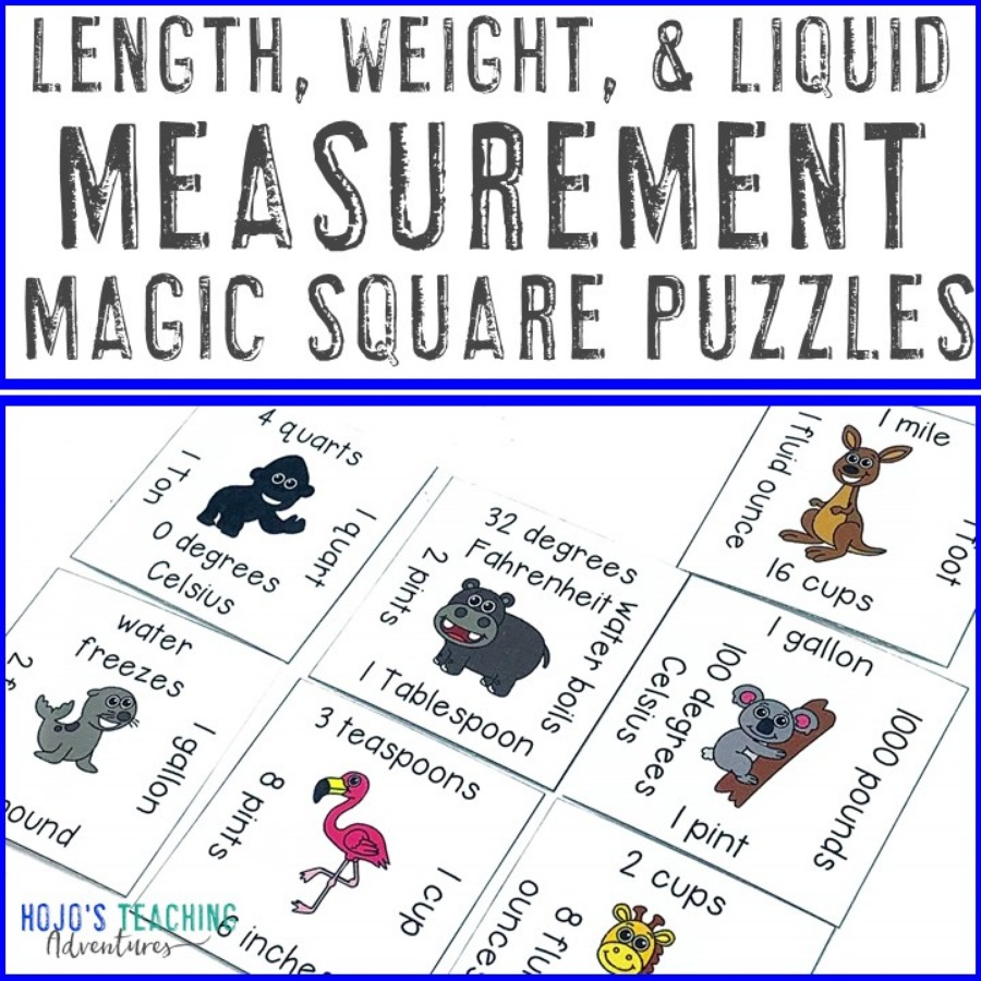 Length, Weight, and Liquid Measurement Magic Square Puzzles