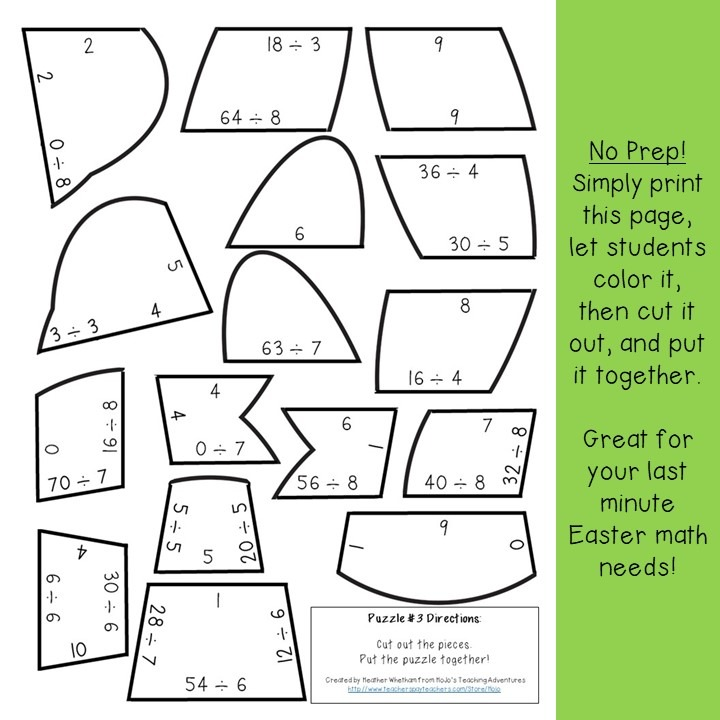 DIVISION Bunny Puzzles for 3rd, 4th, or 5th Grade
