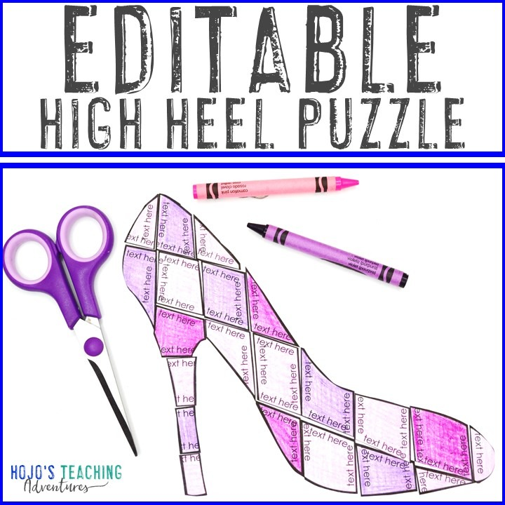 EDITABLE High Heel Puzzle for Elementary or Middle School