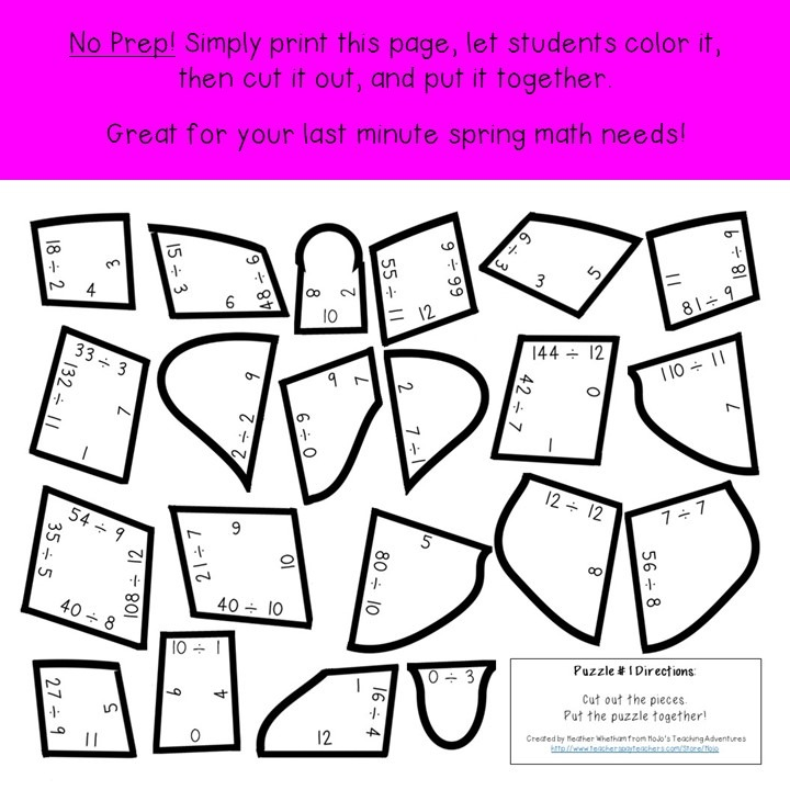 DIVISION Butterfly Puzzles for 3rd, 4th, or 5th Grade