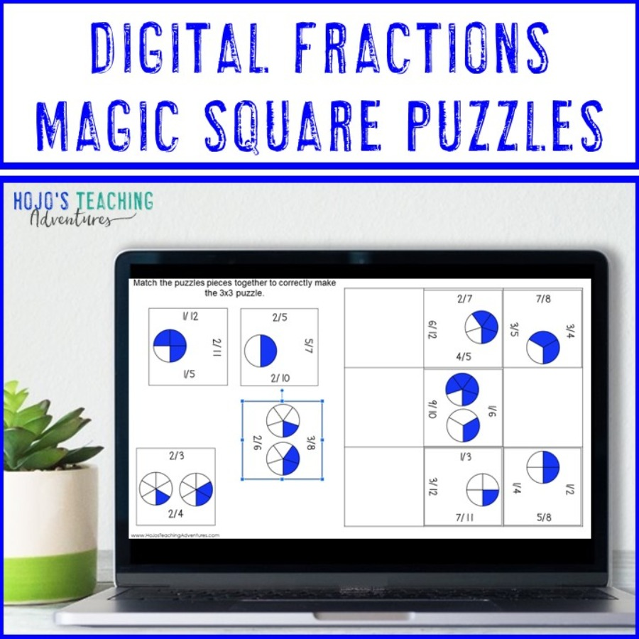 Fractions Magic Square Puzzles - Print AND Digital Options