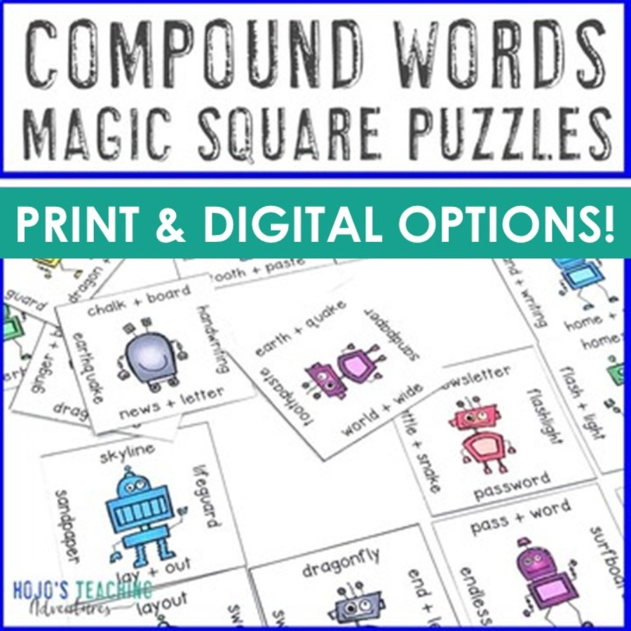 Compound Words Magic Square Puzzles - PDF or Digital Options