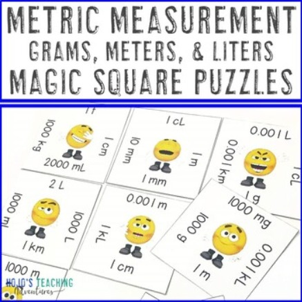 Metric Measurement Magic Square Puzzles