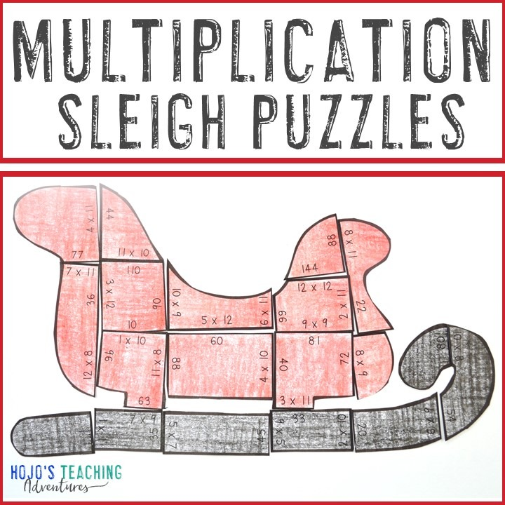 MULTIPLICATION Sleigh Puzzles for 3rd, 4th, or 5th Grade