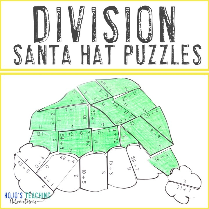DIVISION Santa Hat Puzzles for 3rd, 4th, or 5th Grade