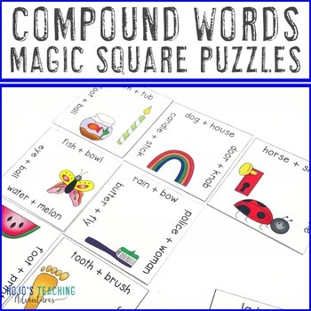 Compound Words Magic Square Puzzles for 1st, 2nd, or 3rd Grade