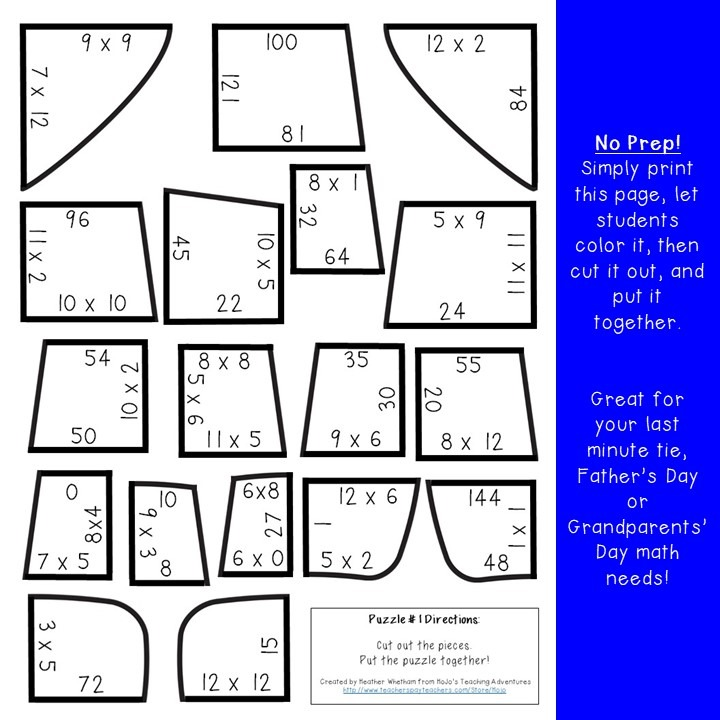 MULTIPLICATION Tie Puzzles for 3rd, 4th, or 5th Grade