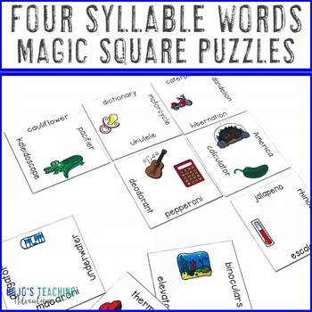 Four Syllable Words Magic Square Puzzles