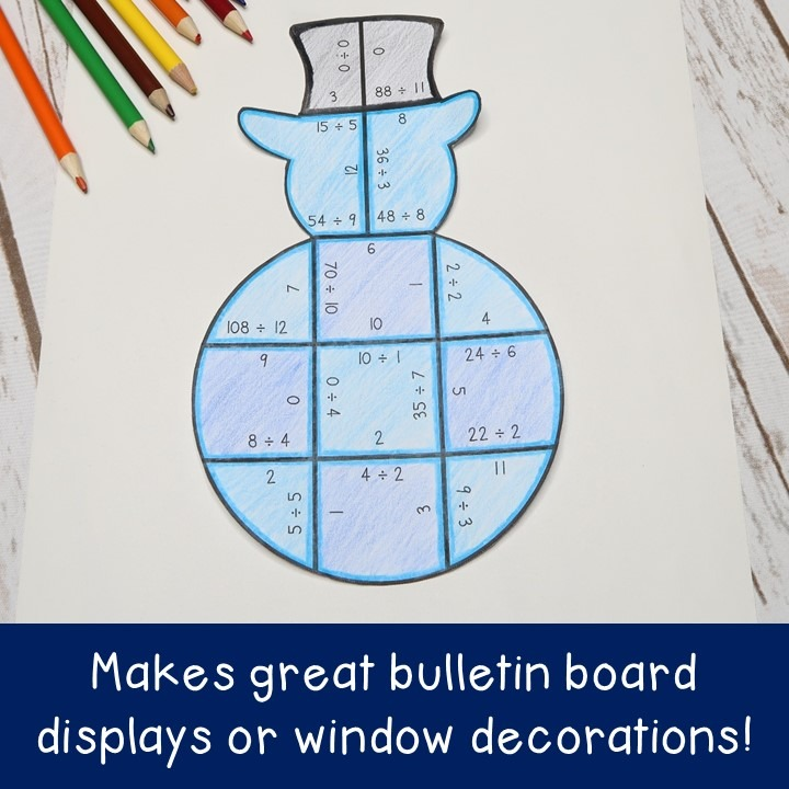 DIVISION Snowman Puzzles for 3rd, 4th, or 5th Grade