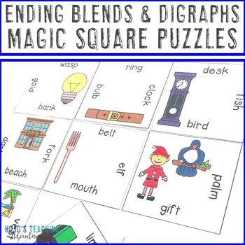 Ending Blends and Digraphs Magic Square Puzzles
