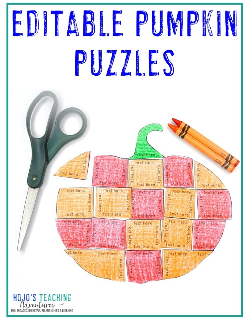 EDITABLE Pumpkin Puzzles for Elementary or Middle School Kids