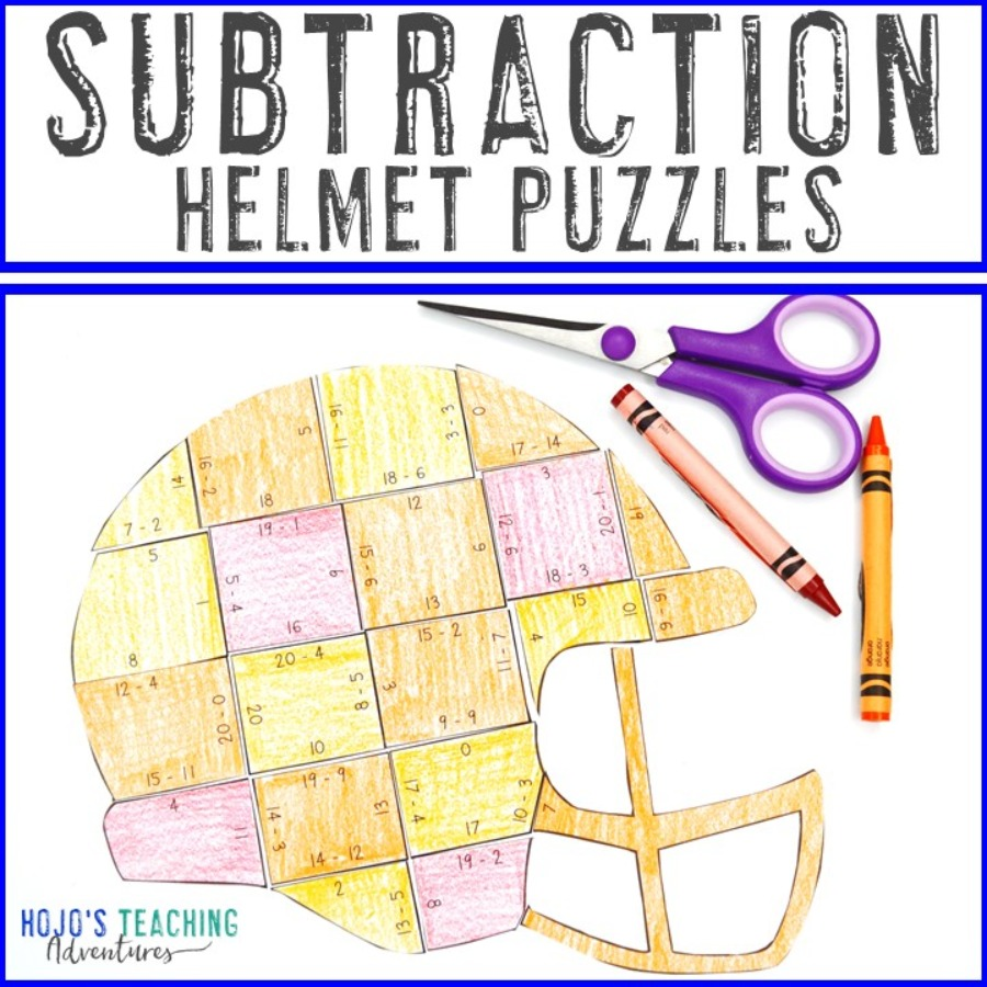 SUBTRACTION Football Helmet Puzzles for 1st, 2nd, or 3rd Grade