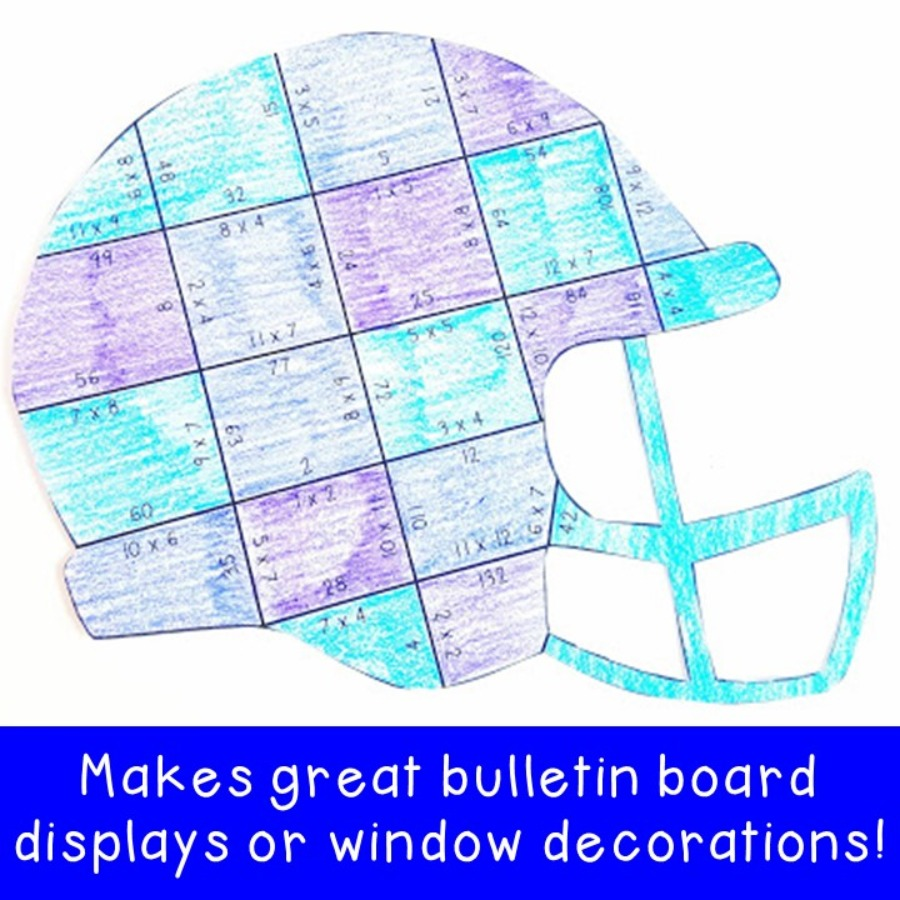 MULTIPLICATION Football Helmet Puzzles for 3rd, 4th, or 5th Grade