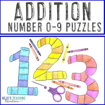 Addition Number 0-9 Puzzles