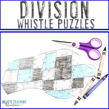 Division Whistle Puzzles for 3rd, 4th, or 5th Grade