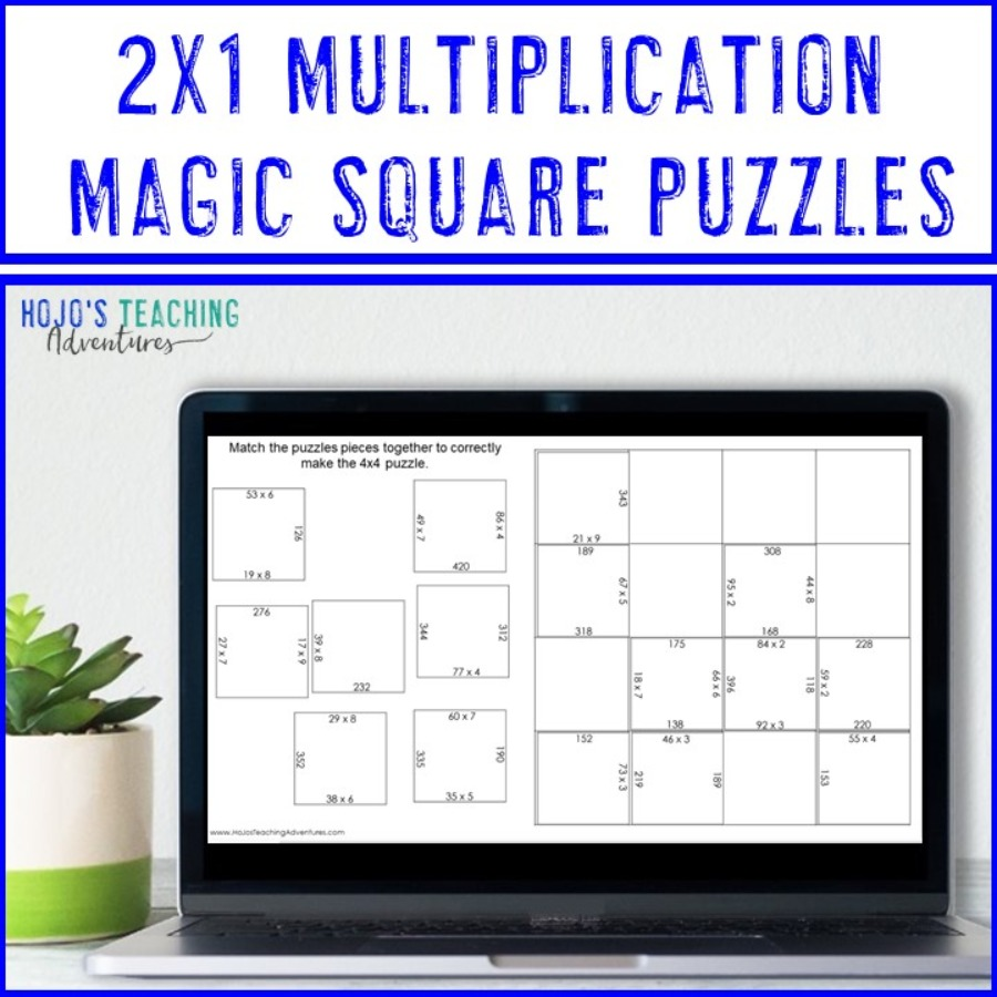 2x1 Digit Multiplication Magic Square Puzzles - Digital and PDF Options