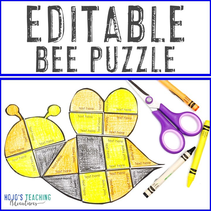 EDITABLE Bee Puzzle for Elementary or Middle School Kids