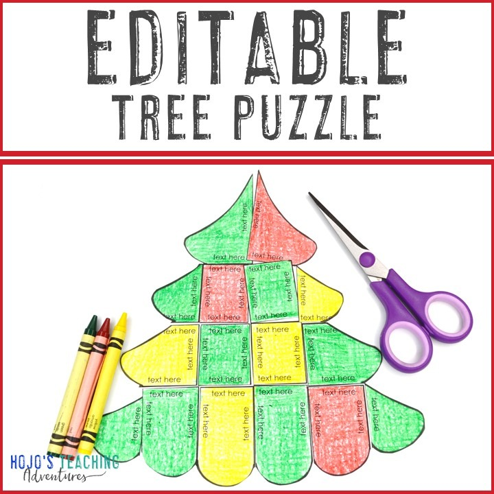 EDITABLE Christmas Tree Puzzle for Elementary or Middle School Kids