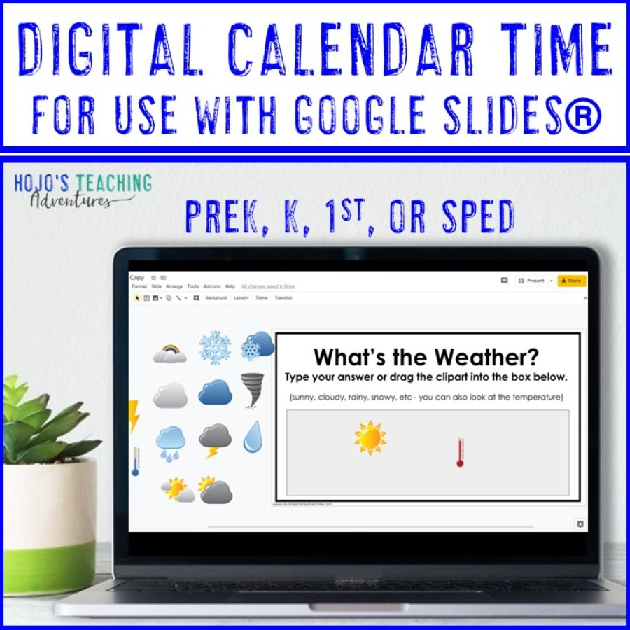 Digital Calendar Time for use with Google Slides