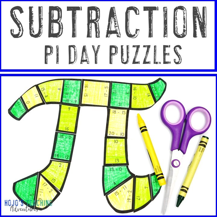 SUBTRACTION Pi Day Puzzles for 1st, 2nd, or 3rd Grade