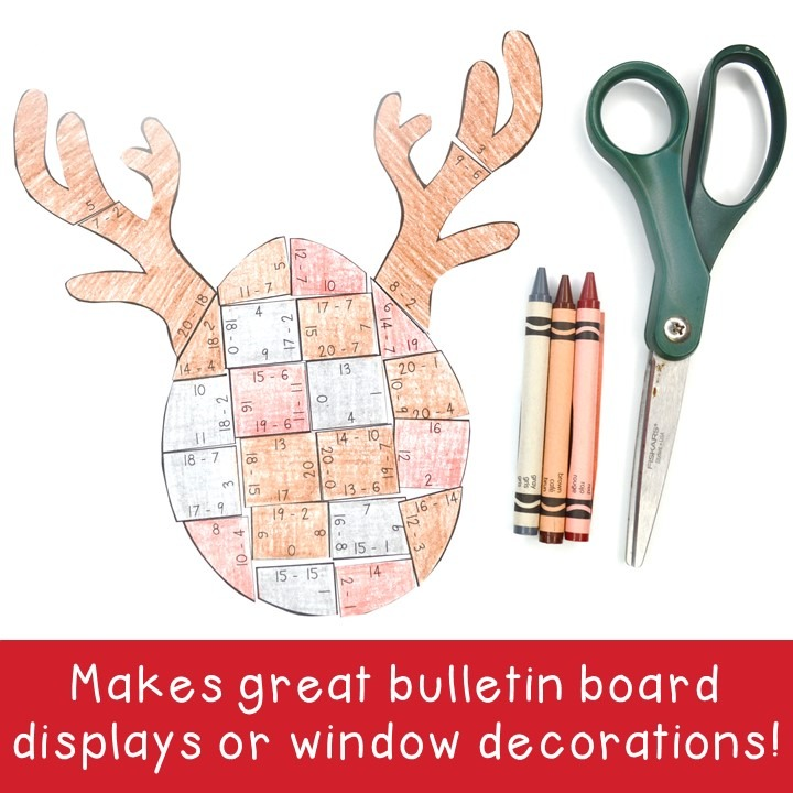 SUBTRACTION Reindeer Puzzles for 1st, 2nd, or 3rd Grade