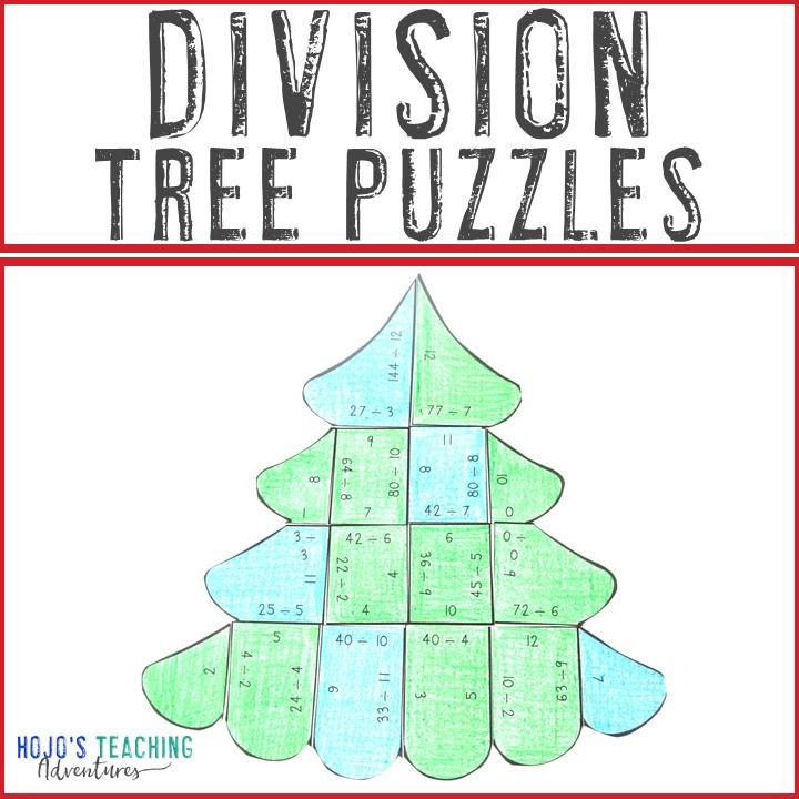 DIVISION Christmas Tree Puzzles for 3rd, 4th, or 5th Grade