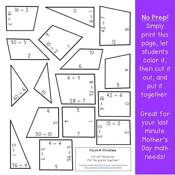 DIVISION Crown Puzzles for 3rd, 4th, and 5th Grade