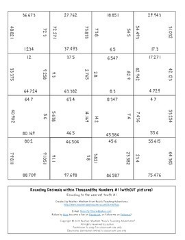 Rounding Decimals to the Nearest Tenth or Hundredth Magic Square Puzzles