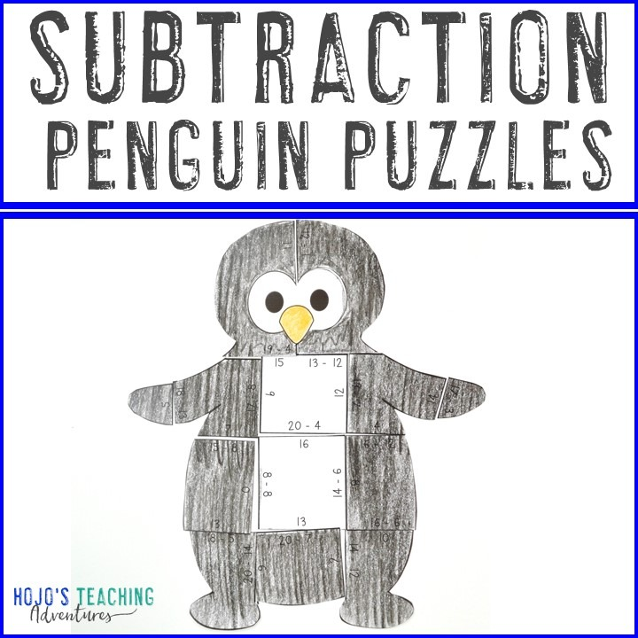 SUBTRACTION Penguin Puzzles for 1st, 2nd, or 3rd Grade