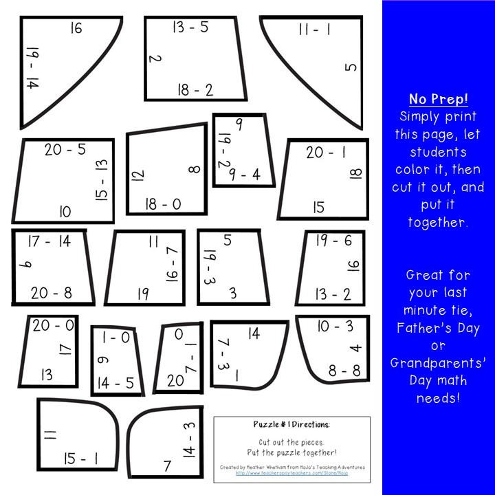 SUBTRACTION Tie Puzzles for 1st, 2nd, or 3rd Grade