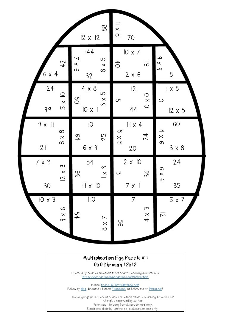 MULTIPLICATION Egg Puzzles for 3rd, 4th, or 5th Grade