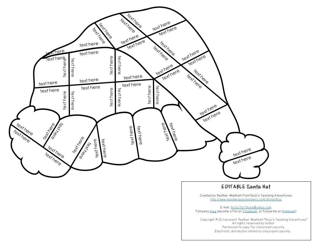 EDITABLE Santa Hat Puzzles for Elementary or Middle School Kids