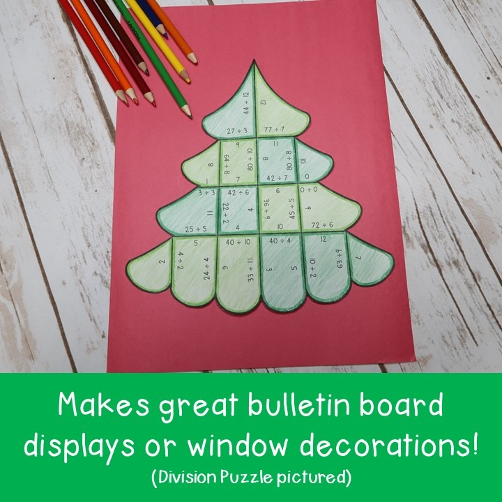 MULTIPLICATION Christmas Tree Puzzles for 3rd, 4th, or 5th Grade