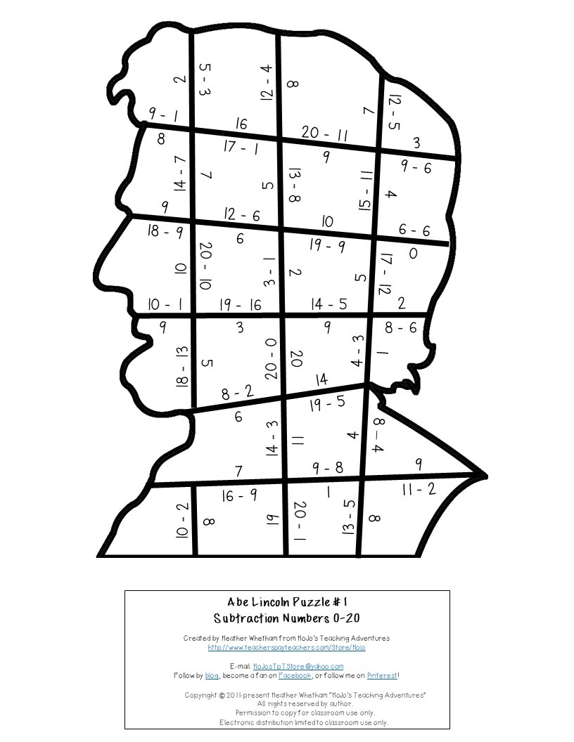 SUBTRACTION President Abraham Lincoln Puzzles for 1st, 2nd, or 3rd Grade