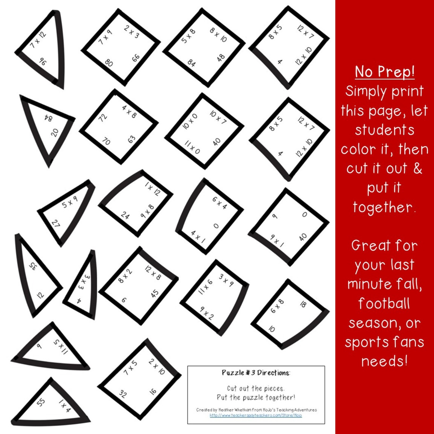 DIVISION Football Puzzles for 3rd, 4th, or 5th Grade