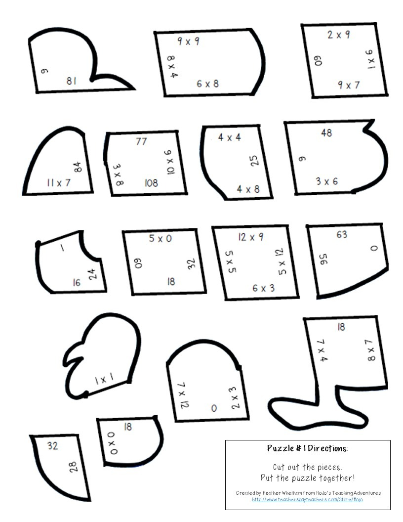 MULTIPLICATION Turkey Puzzles for 3rd, 4th, or 5th Grade Kids