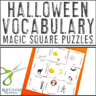 FREE Halloween Vocabulary Magic Square Puzzles