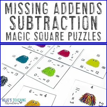Missing Addends Subtraction Magic Square Puzzles