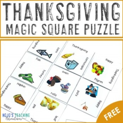 FREE Thanksgiving Vocabulary Magic Square Puzzle