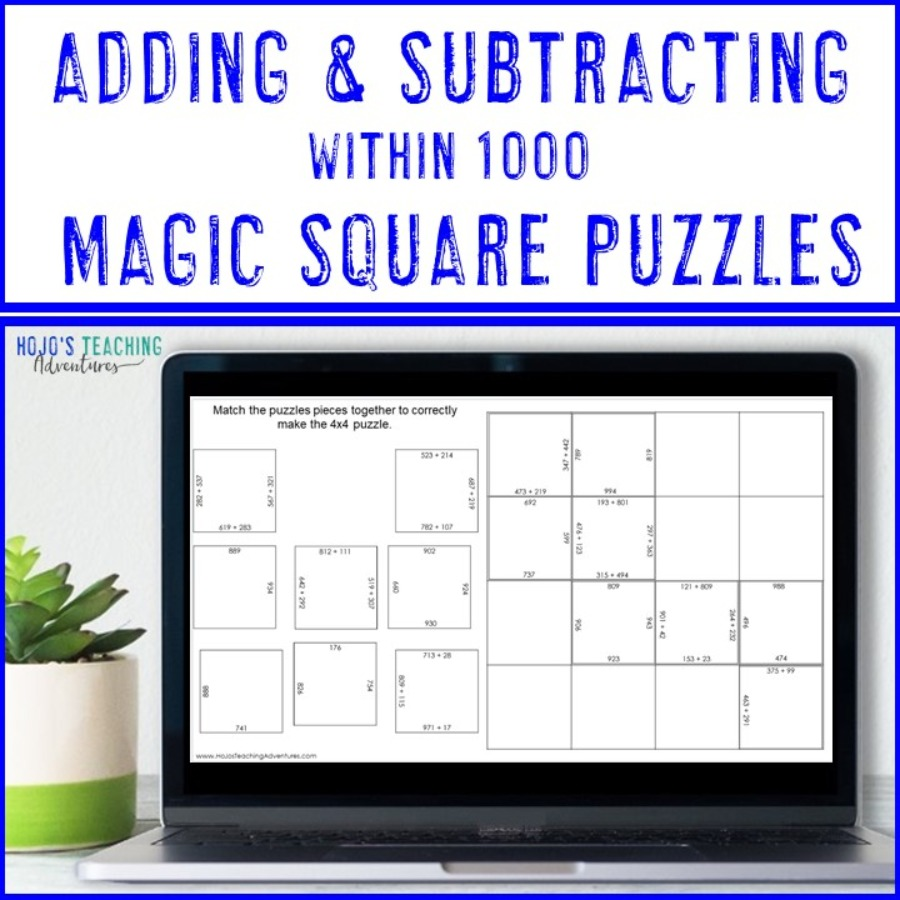 Adding and Subtracting within 1000 Magic Square Puzzles - Digital & Print Options