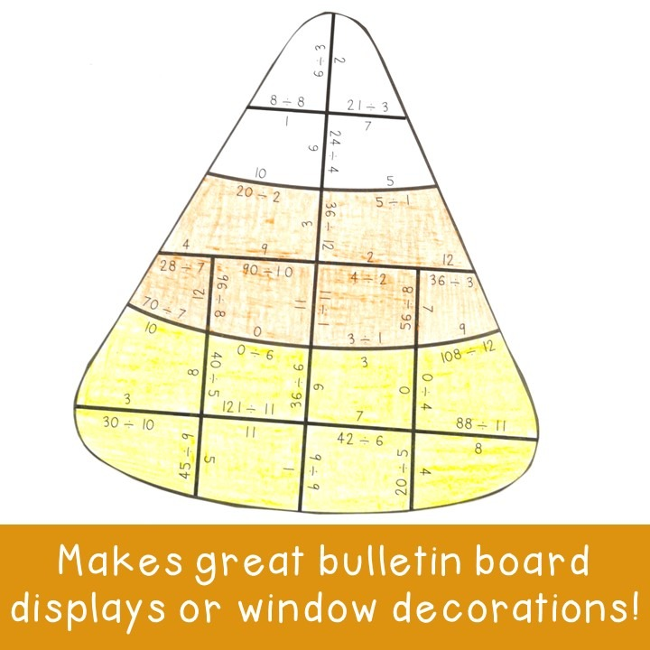 DIVISION Candy Corn Puzzles for 3rd, 4th, or 5th Grade