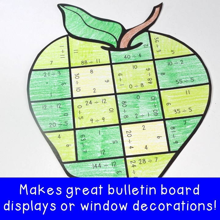 DIVISION Apple Puzzles for 3rd, 4th, or 5th Grade