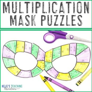 MULTIPLICATION Mask Puzzles for 3rd, 4th, or 5th Grade