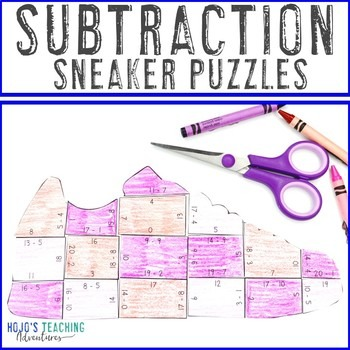 Subtraction Sneaker Puzzles for 1st, 2nd, or 3rd Grade