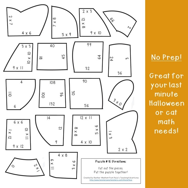 MULTIPLICATION Cat Puzzles for 3rd, 4th, or 5th Grade