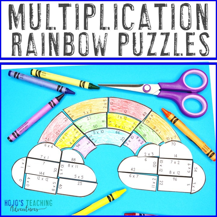 MULTIPLICATION Rainbow Puzzles for 3rd, th, or 5th Grade