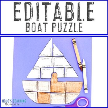EDITABLE Boat Puzzle for Elementary and Middle School Kids