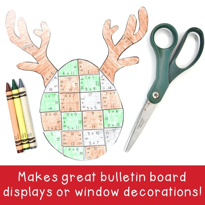 ADDITION Reindeer Puzzles for 1st, 2nd, or 3rd Grade